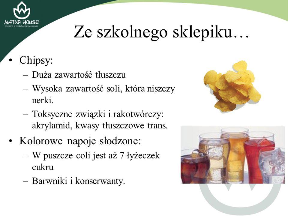 Ze szkolnego sklepiku… Chipsy: –Duża zawartość tłuszczu –Wysoka zawartość soli, która niszczy nerki. –Toksyczne związki i rakotwórczy: akrylamid, kwas