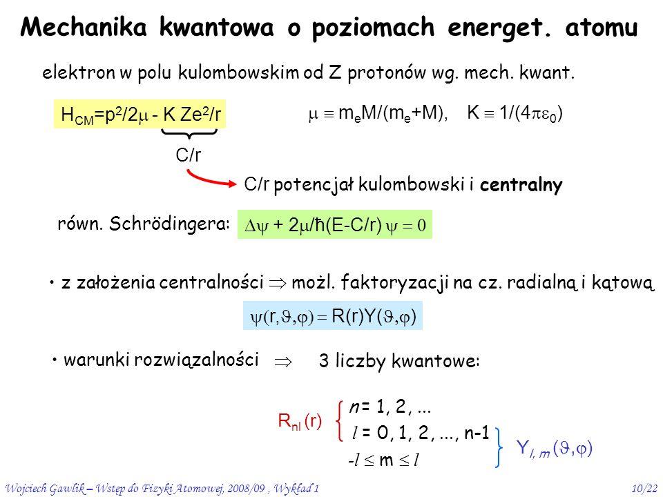 Wojciech Gawlik – Wstęp do Fizyki Atomowej, 2008/09, Wykład 110/22 Mechanika kwantowa o poziomach energet.