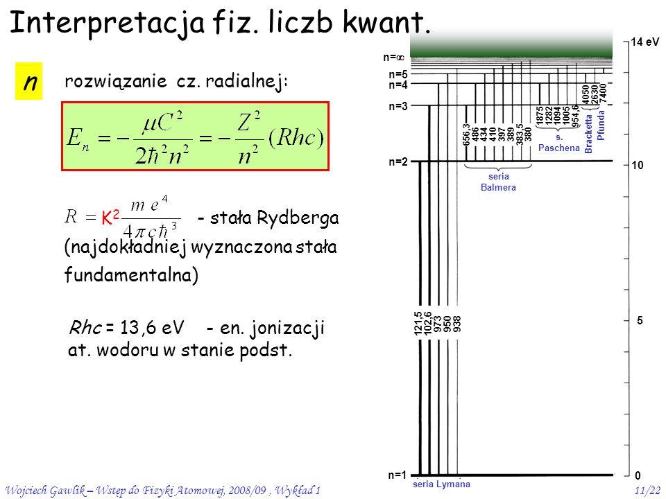 Wojciech Gawlik – Wstęp do Fizyki Atomowej, 2008/09, Wykład 111/22 n rozwiązanie cz.
