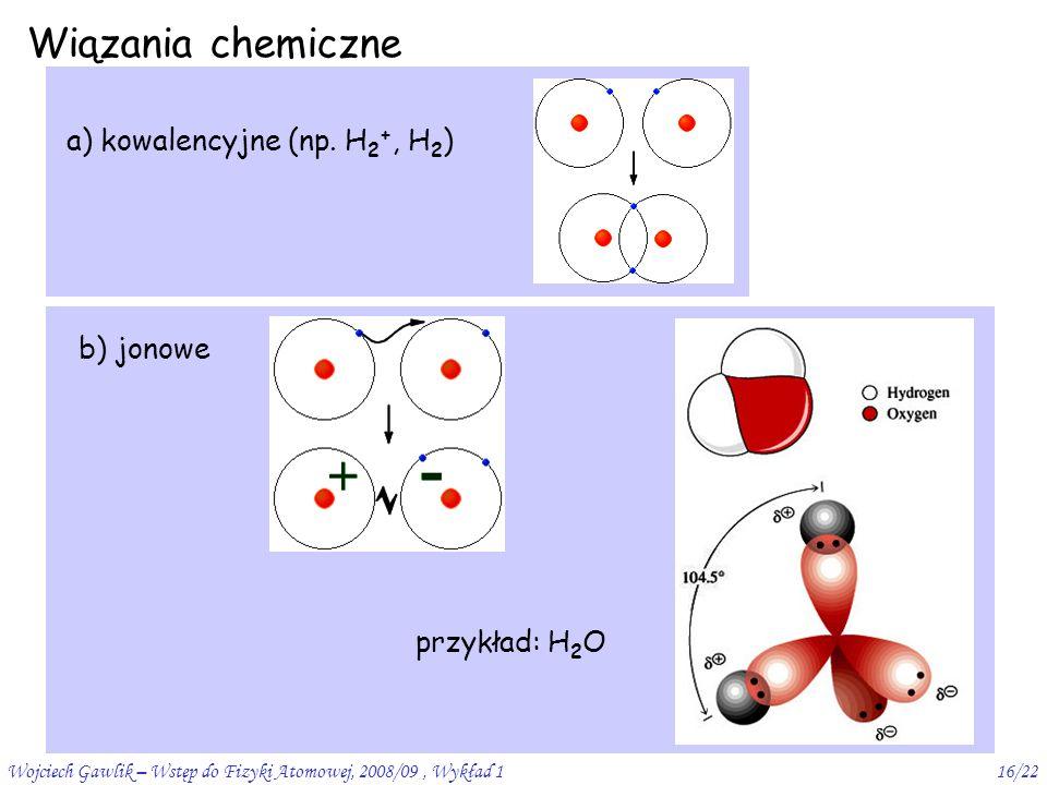 Wojciech Gawlik – Wstęp do Fizyki Atomowej, 2008/09, Wykład 116/22 Wiązania chemiczne a) kowalencyjne (np.