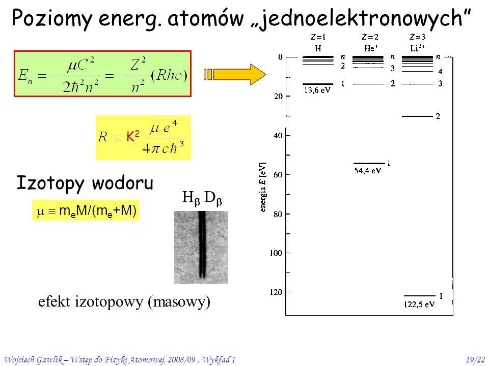 Wojciech Gawlik – Wstęp do Fizyki Atomowej, 2008/09, Wykład 119/22 Poziomy energ.