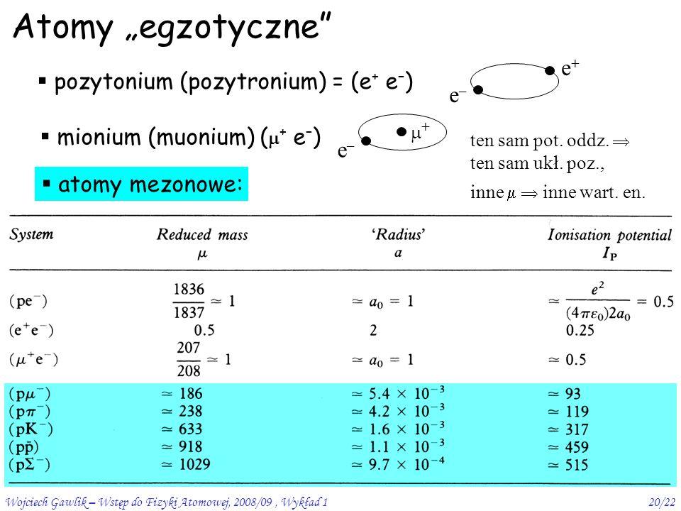 """Wojciech Gawlik – Wstęp do Fizyki Atomowej, 2008/09, Wykład 120/22 Atomy """"egzotyczne  pozytonium (pozytronium) = (e + e – ) e–e– e+e+ ten sam pot."""