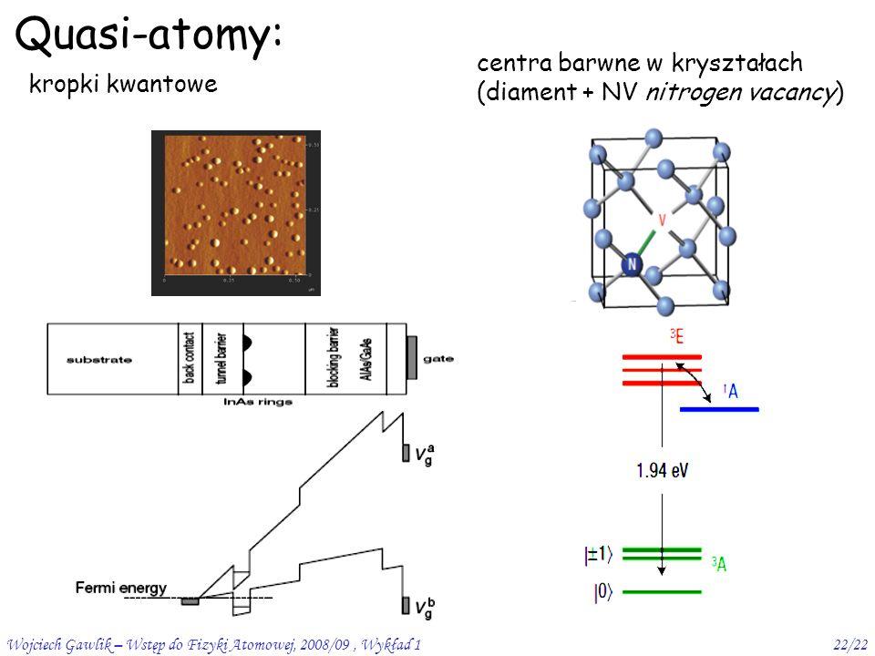 Wojciech Gawlik – Wstęp do Fizyki Atomowej, 2008/09, Wykład 122/22 Quasi-atomy: kropki kwantowe centra barwne w kryształach (diament + NV nitrogen vacancy)