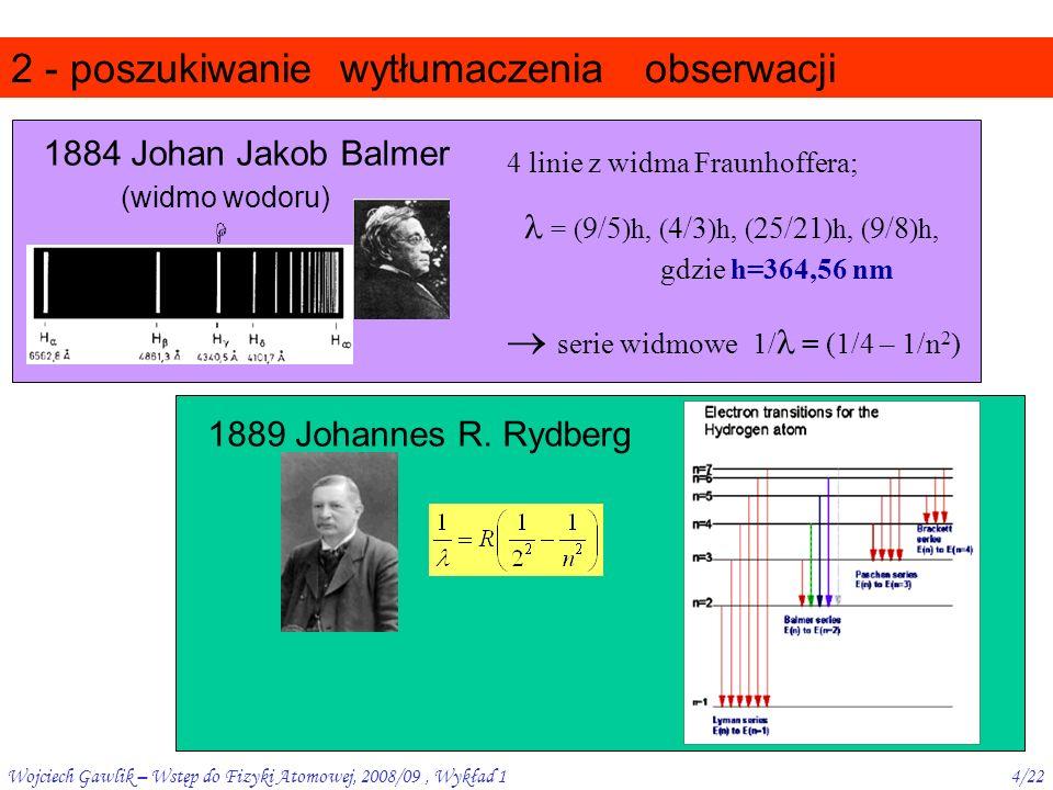 Wojciech Gawlik – Wstęp do Fizyki Atomowej, 2008/09, Wykład 14/22 2 - poszukiwanie obserwacji 1889 Johannes R.