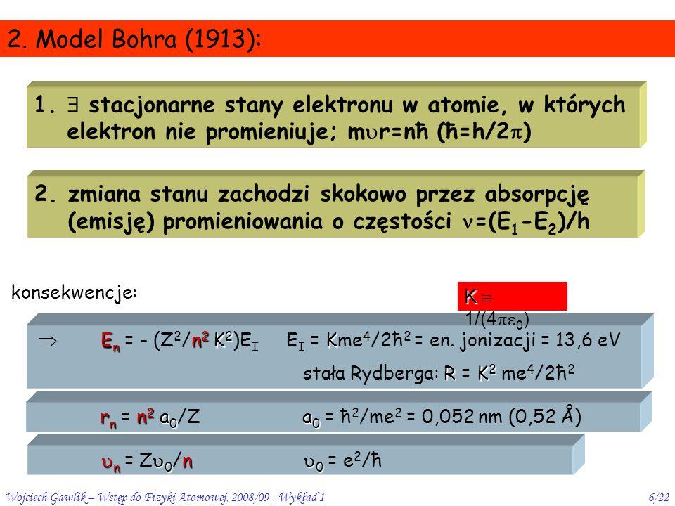 Wojciech Gawlik – Wstęp do Fizyki Atomowej, 2008/09, Wykład 17/22 sens poziomów Bohra  postulat Bohra nie tłumaczy stabilności atomów jako stanów stacjonarnych (odpowiadających minimum energii) klasycznie całk.