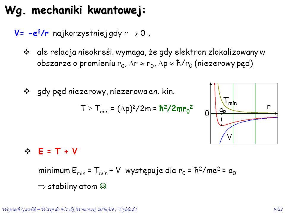 Wojciech Gawlik – Wstęp do Fizyki Atomowej, 2008/09, Wykład 19/22 V= -e 2 /r najkorzystniej gdy r  0, Wg.