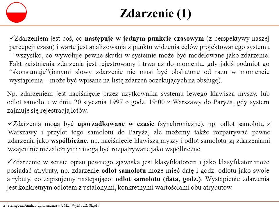 E. Stemposz. Analiza dynamiczna w UML, Wykład 2, Slajd 7 Zdarzenie (1) Np.