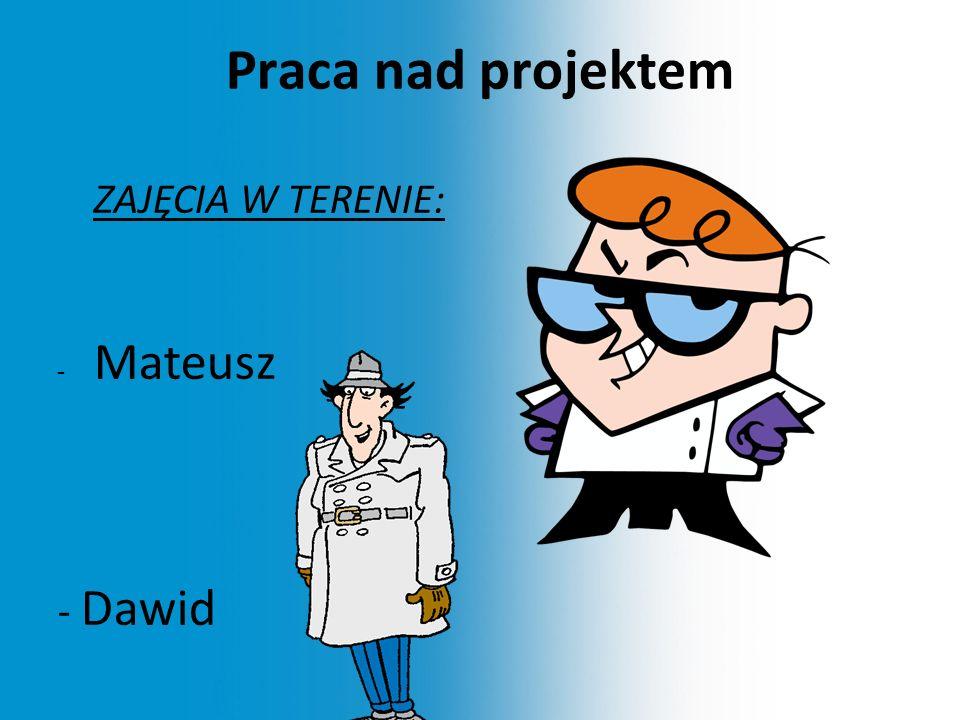 Praca nad projektem ZAJĘCIA W TERENIE: - Mateusz - Dawid