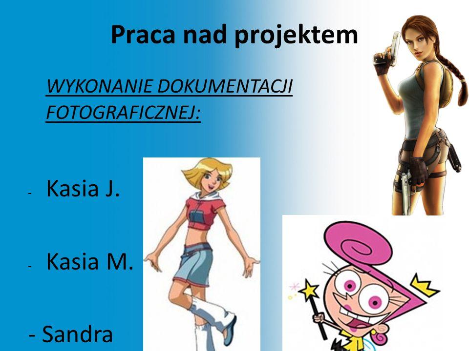 Praca nad projektem WYKONANIE DOKUMENTACJI FOTOGRAFICZNEJ: - Kasia J. - Kasia M. - Sandra