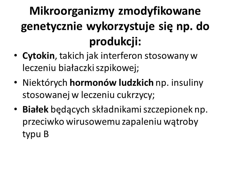 Mikroorganizmy zmodyfikowane genetycznie wykorzystuje się np. do produkcji: Cytokin, takich jak interferon stosowany w leczeniu białaczki szpikowej; N
