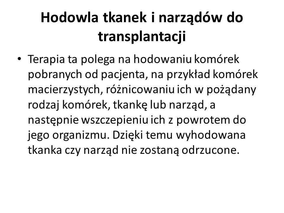 Hodowla tkanek i narządów do transplantacji Terapia ta polega na hodowaniu komórek pobranych od pacjenta, na przykład komórek macierzystych, różnicowa