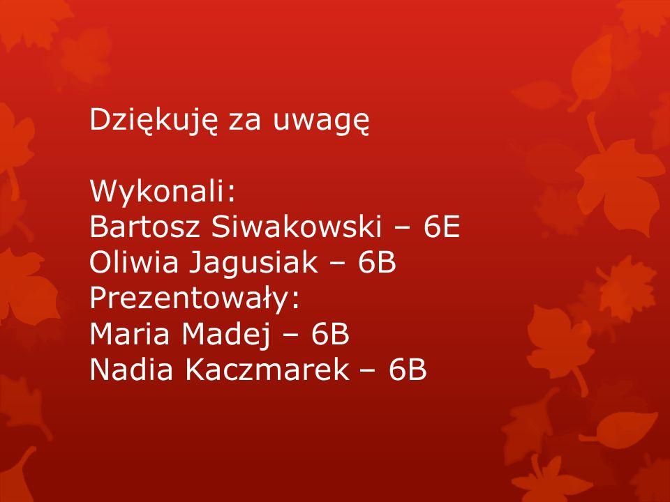 Dziękuję za uwagę Wykonali: Bartosz Siwakowski – 6E Oliwia Jagusiak – 6B Prezentowały: Maria Madej – 6B Nadia Kaczmarek – 6B