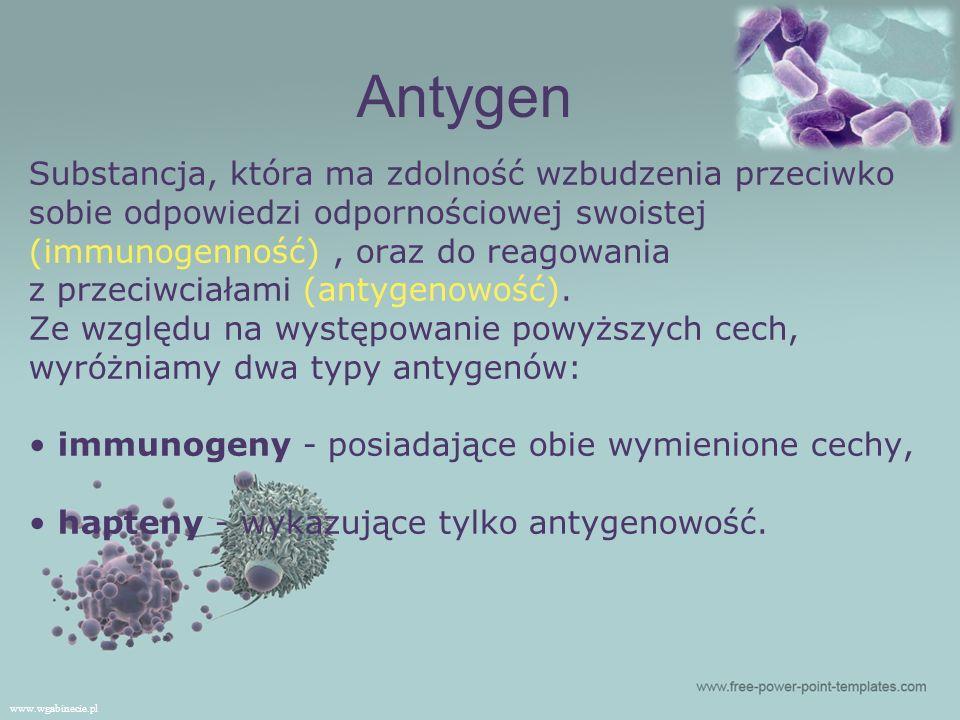 Substancja, która ma zdolność wzbudzenia przeciwko sobie odpowiedzi odpornościowej swoistej (immunogenność), oraz do reagowania z przeciwciałami (antygenowość).