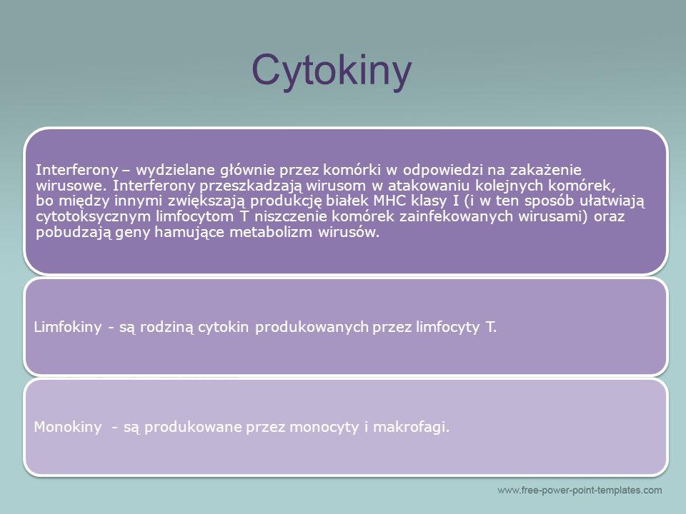 Cytokiny Interferony – wydzielane głównie przez komórki w odpowiedzi na zakażenie wirusowe. Interferony przeszkadzają wirusom w atakowaniu kolejnych k