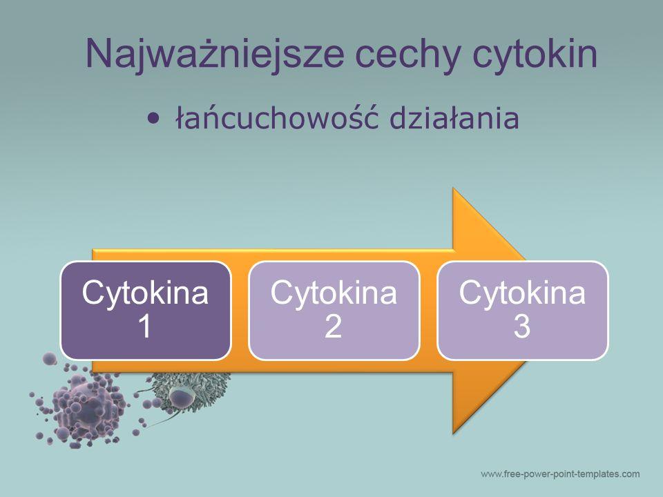 łańcuchowość działania Cytokina 1 Cytokina 2 Cytokina 3 Najważniejsze cechy cytokin