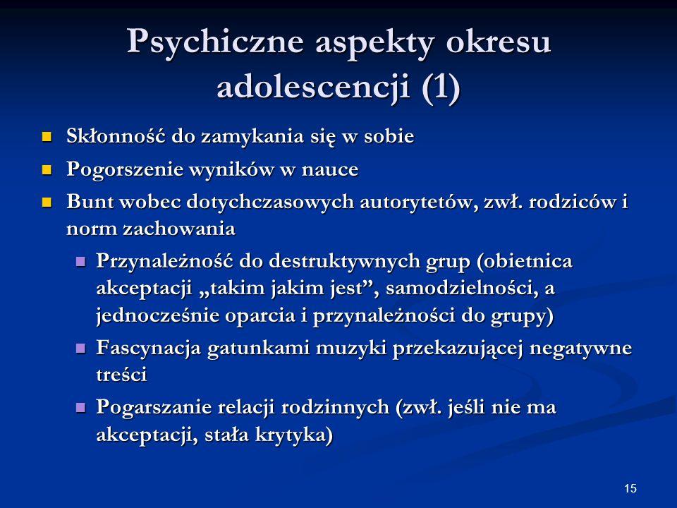 15 Psychiczne aspekty okresu adolescencji (1) Skłonność do zamykania się w sobie Skłonność do zamykania się w sobie Pogorszenie wyników w nauce Pogors