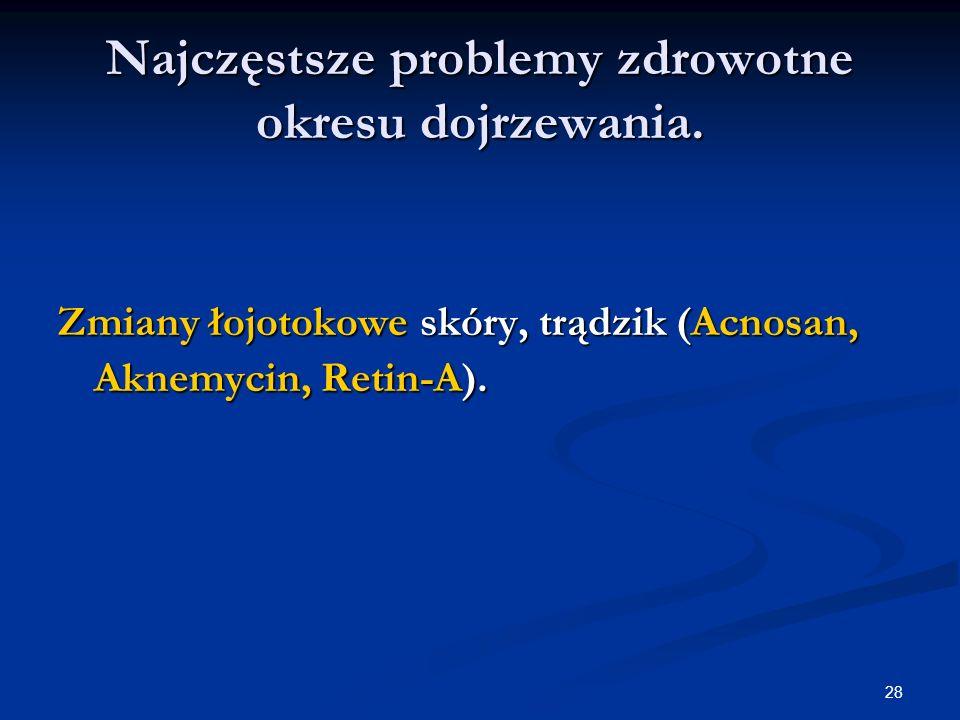 28 Najczęstsze problemy zdrowotne okresu dojrzewania. Zmiany łojotokowe skóry, trądzik (Acnosan, Aknemycin, Retin-A).
