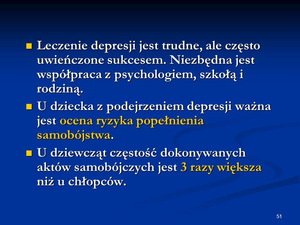 51 Leczenie depresji jest trudne, ale często uwieńczone sukcesem. Niezbędna jest współpraca z psychologiem, szkołą i rodziną. Leczenie depresji jest t