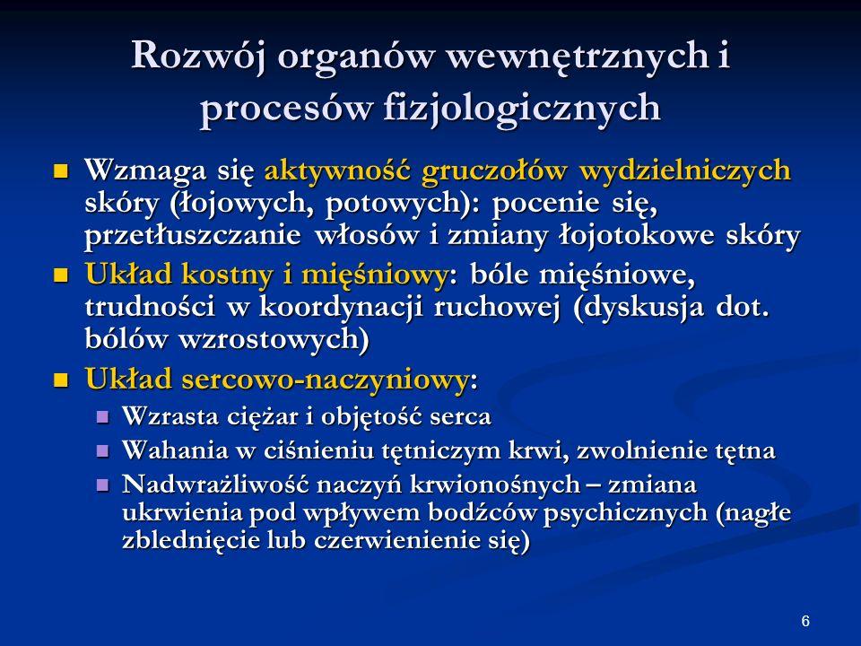 6 Rozwój organów wewnętrznych i procesów fizjologicznych Wzmaga się aktywność gruczołów wydzielniczych skóry (łojowych, potowych): pocenie się, przetł