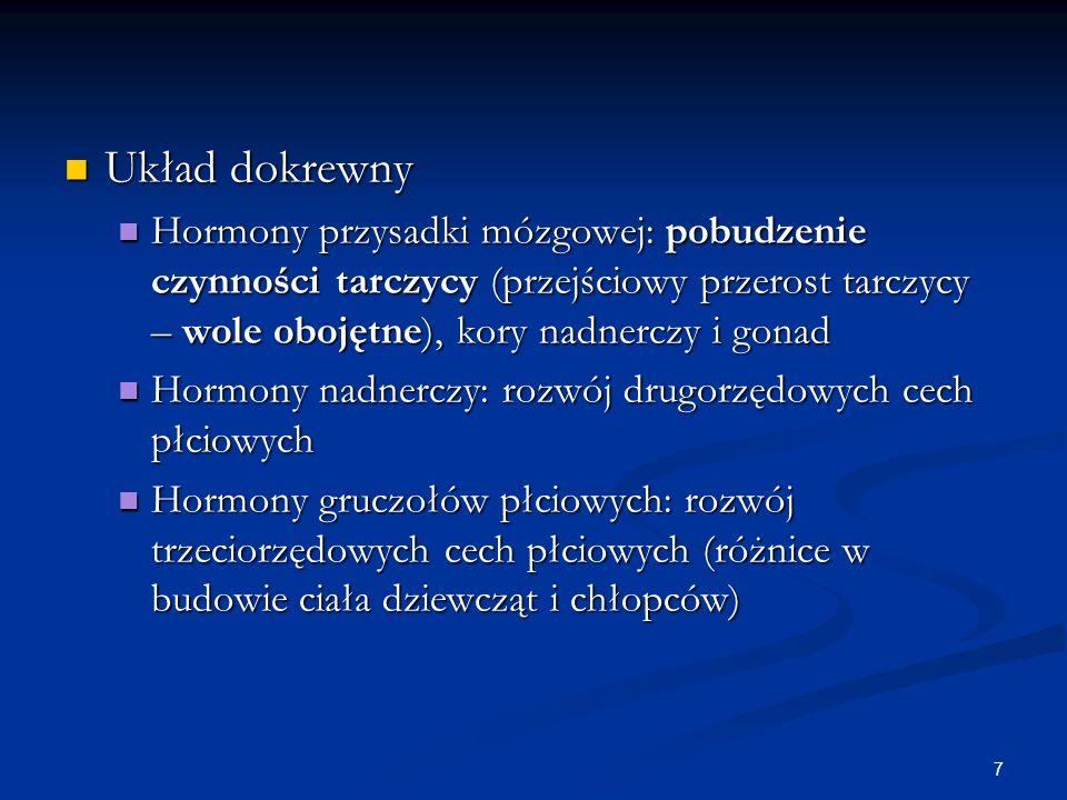7 Układ dokrewny Układ dokrewny Hormony przysadki mózgowej: pobudzenie czynności tarczycy (przejściowy przerost tarczycy – wole obojętne), kory nadner