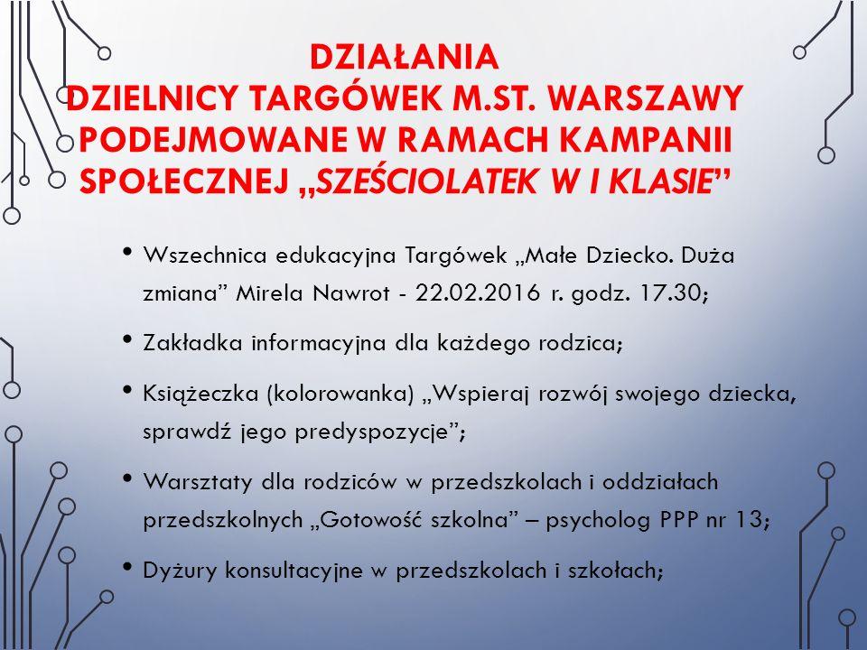 """DZIAŁANIA DZIELNICY TARGÓWEK M.ST. WARSZAWY PODEJMOWANE W RAMACH KAMPANII SPOŁECZNEJ """"SZEŚCIOLATEK W I KLASIE"""" Wszechnica edukacyjna Targówek """"Małe Dz"""