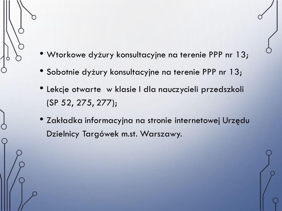Wtorkowe dyżury konsultacyjne na terenie PPP nr 13; Sobotnie dyżury konsultacyjne na terenie PPP nr 13; Lekcje otwarte w klasie I dla nauczycieli prze