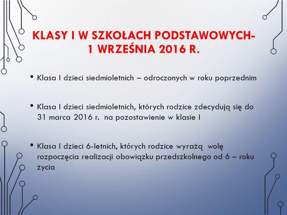 KLASY I W SZKOŁACH PODSTAWOWYCH- 1 WRZEŚNIA 2016 R. Klasa I dzieci siedmioletnich – odroczonych w roku poprzednim Klasa I dzieci siedmioletnich, który