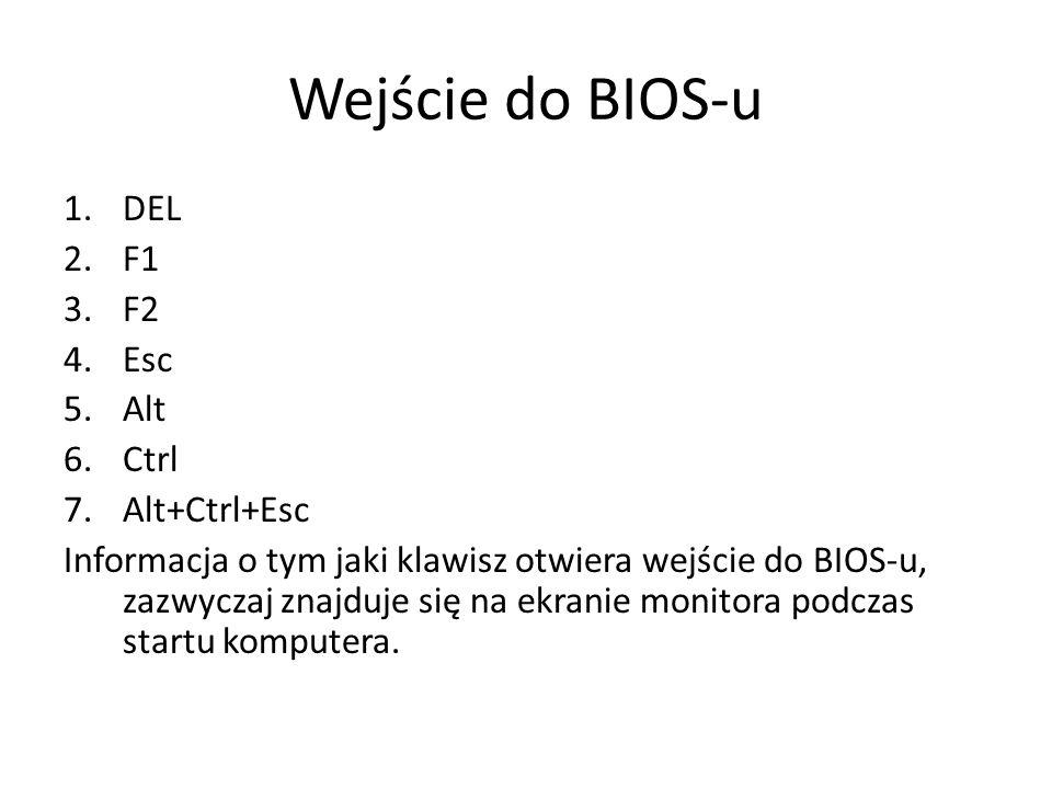 Wejście do BIOS-u 1.DEL 2.F1 3.F2 4.Esc 5.Alt 6.Ctrl 7.Alt+Ctrl+Esc Informacja o tym jaki klawisz otwiera wejście do BIOS-u, zazwyczaj znajduje się na