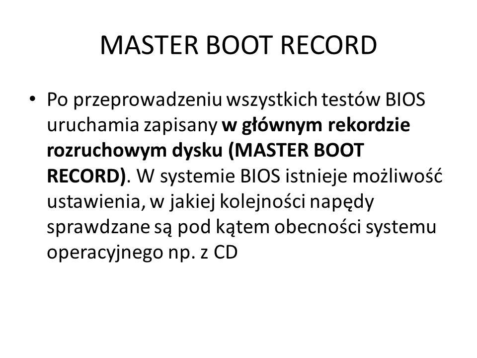 MASTER BOOT RECORD Po przeprowadzeniu wszystkich testów BIOS uruchamia zapisany w głównym rekordzie rozruchowym dysku (MASTER BOOT RECORD). W systemie