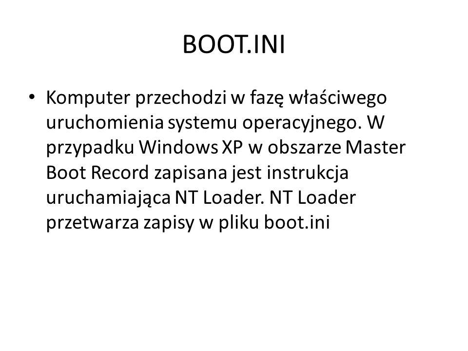 BOOT.INI Komputer przechodzi w fazę właściwego uruchomienia systemu operacyjnego. W przypadku Windows XP w obszarze Master Boot Record zapisana jest i