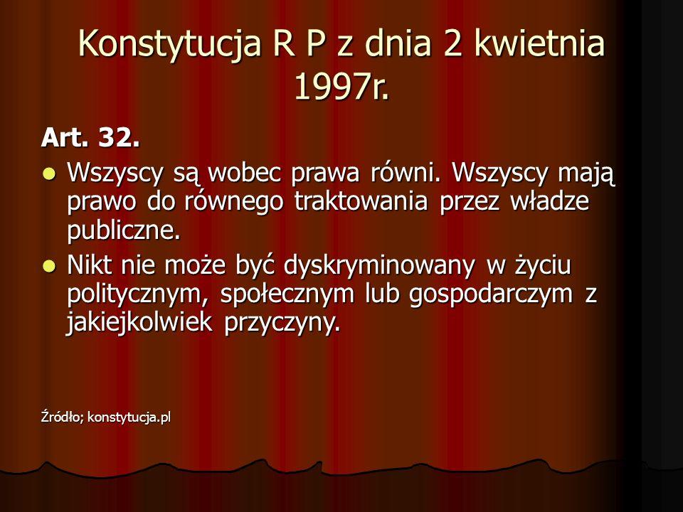 Konstytucja R P z dnia 2 kwietnia 1997r. Art. 32. Wszyscy są wobec prawa równi. Wszyscy mają prawo do równego traktowania przez władze publiczne. Wszy