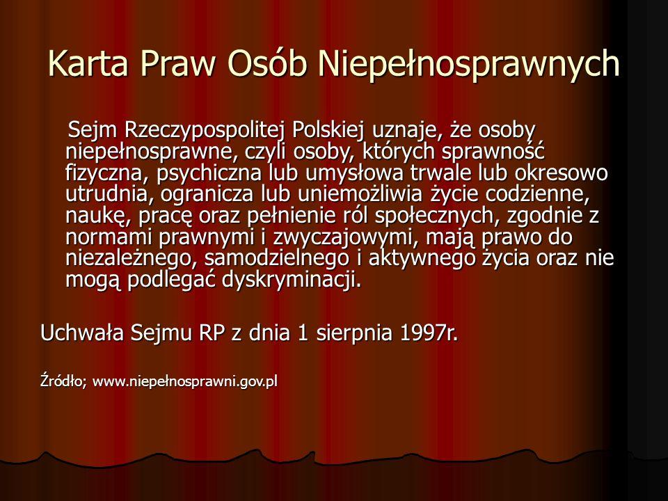 Karta Praw Osób Niepełnosprawnych Sejm Rzeczypospolitej Polskiej uznaje, że osoby niepełnosprawne, czyli osoby, których sprawność fizyczna, psychiczna
