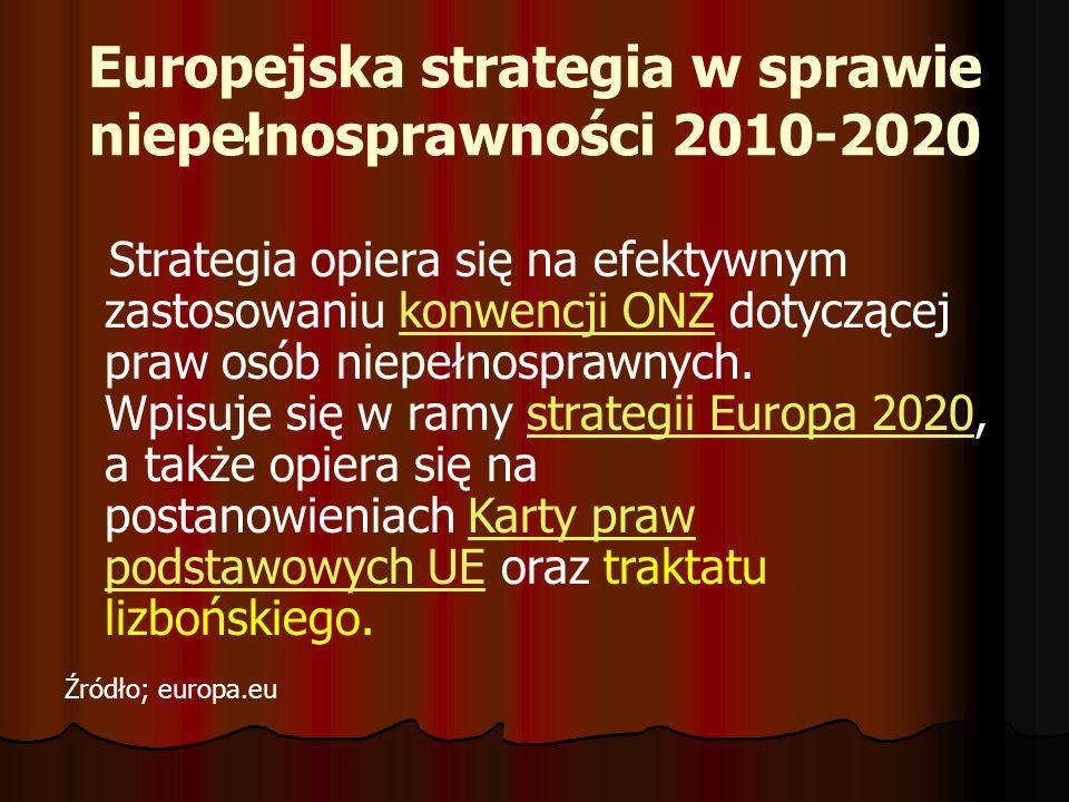 Europejska strategia w sprawie niepełnosprawności 2010-2020 Strategia opiera się na efektywnym zastosowaniu konwencji ONZ dotyczącej praw osób niepełn