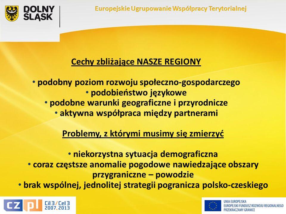 14 Cechy zbliżające NASZE REGIONY podobny poziom rozwoju społeczno-gospodarczego podobieństwo językowe podobne warunki geograficzne i przyrodnicze aktywna współpraca między partnerami Problemy, z którymi musimy się zmierzyć niekorzystna sytuacja demograficzna coraz częstsze anomalie pogodowe nawiedzające obszary przygraniczne – powodzie brak wspólnej, jednolitej strategii pogranicza polsko-czeskiego