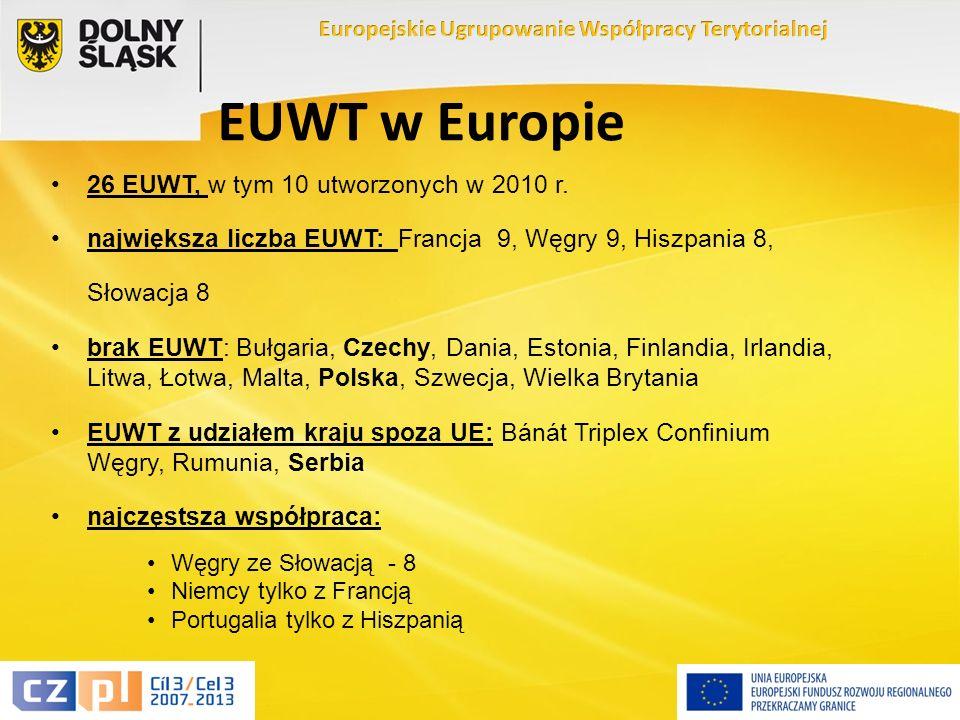 5 EUWT w Europie 26 EUWT, w tym 10 utworzonych w 2010 r.