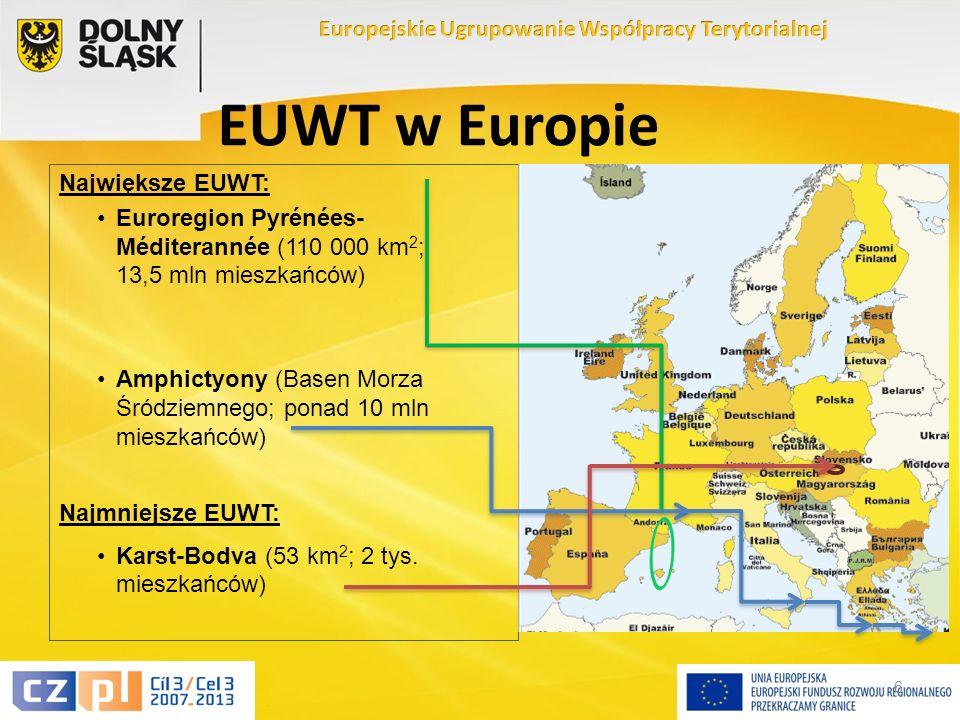 6 EUWT w Europie Największe EUWT: Euroregion Pyrénées- Méditerannée (110 000 km 2 ; 13,5 mln mieszkańców) Amphictyony (Basen Morza Śródziemnego; ponad 10 mln mieszkańców) Najmniejsze EUWT: Karst-Bodva (53 km 2 ; 2 tys.