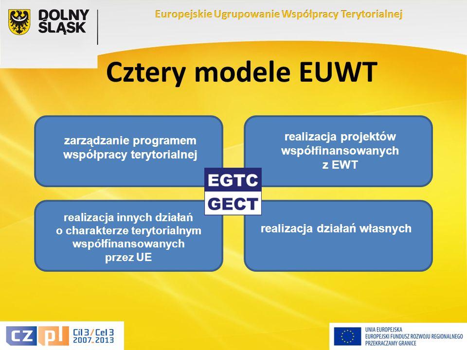 7 Cztery modele EUWT zarządzanie programem współpracy terytorialnej realizacja projektów współfinansowanych z EWT realizacja innych działań o charakterze terytorialnym współfinansowanych przez UE realizacja działań własnych