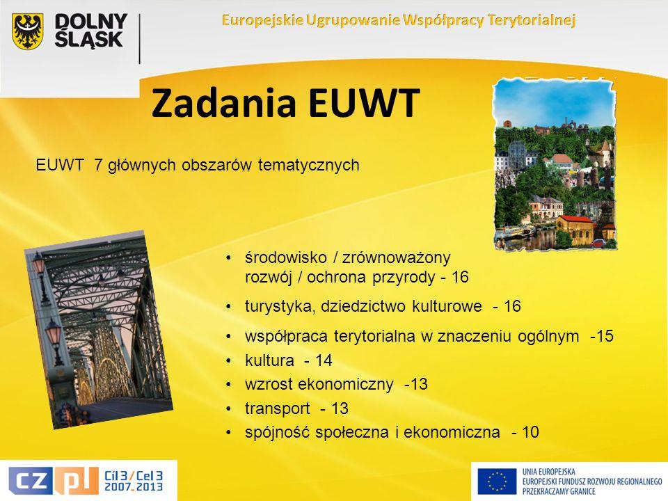 8 Zadania EUWT EUWT 7 głównych obszarów tematycznych środowisko / zrównoważony rozwój / ochrona przyrody - 16 turystyka, dziedzictwo kulturowe - 16 współpraca terytorialna w znaczeniu ogólnym -15 kultura - 14 wzrost ekonomiczny -13 transport - 13 spójność społeczna i ekonomiczna - 10