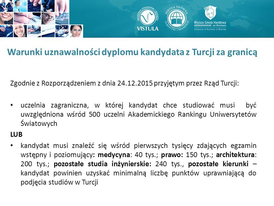 Zgodnie z Rozporządzeniem z dnia 24.12.2015 przyjętym przez Rząd Turcji: uczelnia zagraniczna, w której kandydat chce studiować musi być uwzględniona wśród 500 uczelni Akademickiego Rankingu Uniwersytetów Światowych LUB kandydat musi znaleźć się wśród pierwszych tysięcy zdających egzamin wstępny i poziomujący: medycyna: 40 tys.; prawo: 150 tys.; architektura: 200 tys.; pozostałe studia inżynierskie: 240 tys., pozostałe kierunki – kandydat powinien uzyskać minimalną liczbę punktów uprawniającą do podjęcia studiów w Turcji Warunki uznawalności dyplomu kandydata z Turcji za granicą