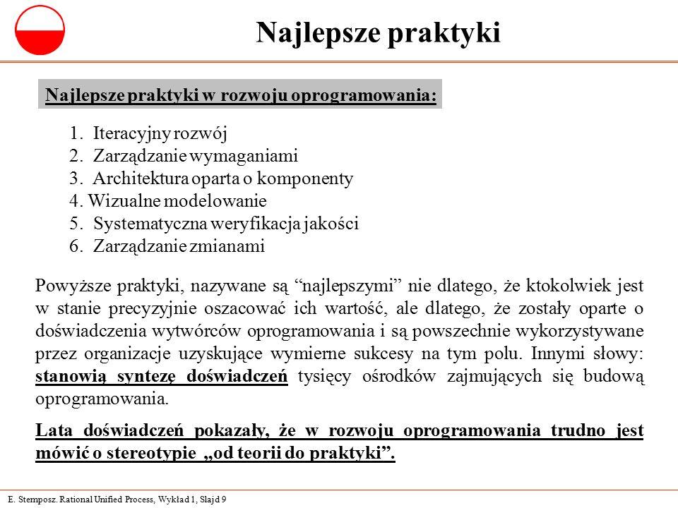 E. Stemposz. Rational Unified Process, Wykład 1, Slajd 9 Najlepsze praktyki 1.