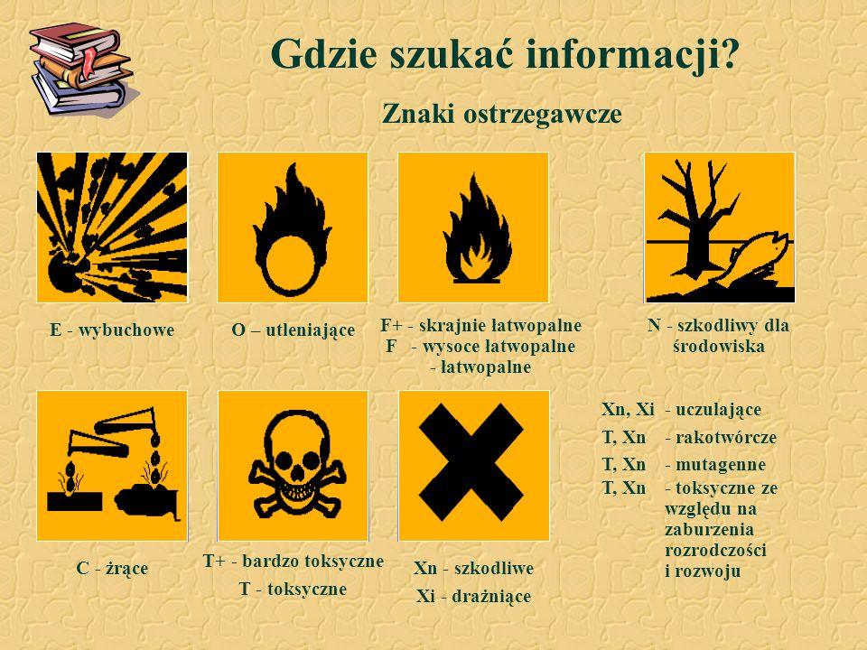 Gdzie szukać informacji? Znaki ostrzegawcze C - żrące F+ - skrajnie łatwopalne F - wysoce łatwopalne - łatwopalne N - szkodliwy dla środowiska Xn - sz