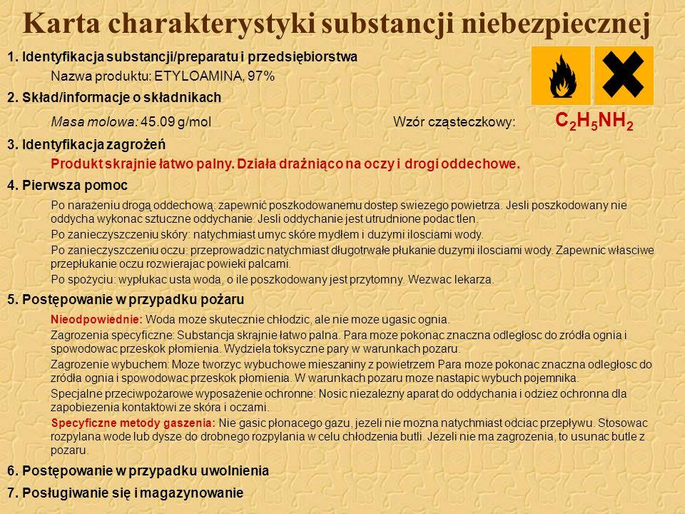 Karta charakterystyki substancji niebezpiecznej 1. Identyfikacja substancji/preparatu i przedsiębiorstwa Nazwa produktu: ETYLOAMINA, 97% 2. Skład/info