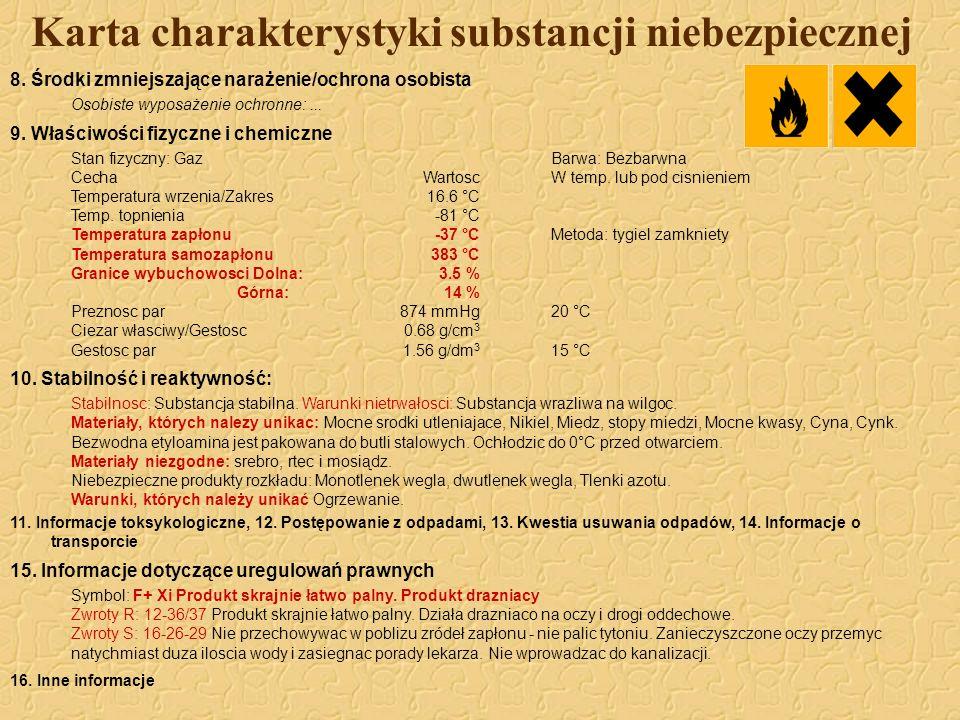 Karta charakterystyki substancji niebezpiecznej 8. Środki zmniejszające narażenie/ochrona osobista Osobiste wyposażenie ochronne:... 9. Właściwości fi