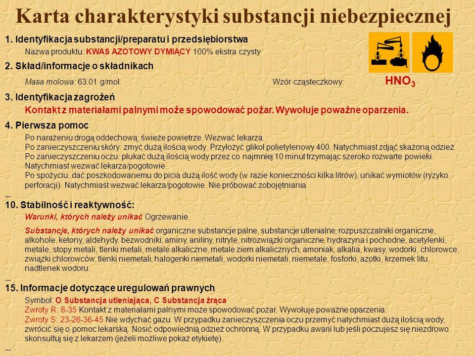 Karta charakterystyki substancji niebezpiecznej 1. Identyfikacja substancji/preparatu i przedsiębiorstwa Nazwa produktu: KWAS AZOTOWY DYMIĄCY 100% eks