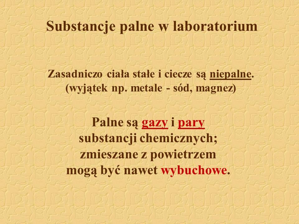Substancje palne w laboratorium Zasadniczo ciała stałe i ciecze są niepalne. (wyjątek np. metale - sód, magnez) Palne są gazy i pary substancji chemic