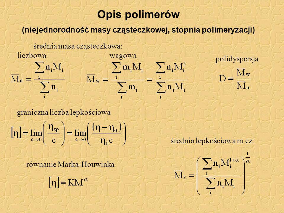 średnia masa cząsteczkowa: liczbowawagowa polidyspersja średnia lepkościowa m.cz. graniczna liczba lepkościowa równanie Marka-Houwinka Opis polimerów