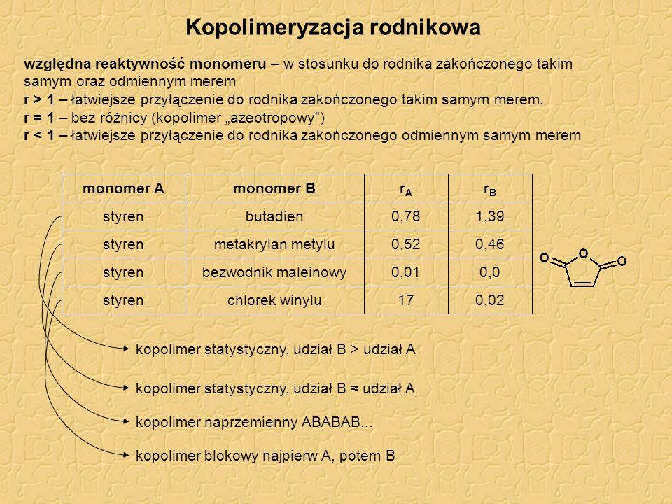 Kopolimeryzacja rodnikowa względna reaktywność monomeru – w stosunku do rodnika zakończonego takim samym oraz odmiennym merem r > 1 – łatwiejsze przył