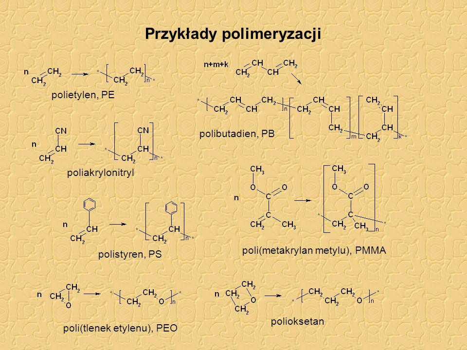 Przykłady polimeryzacji polietylen, PE poliakrylonitryl polistyren, PS poli(metakrylan metylu), PMMA polibutadien, PB poli(tlenek etylenu), PEO poliok