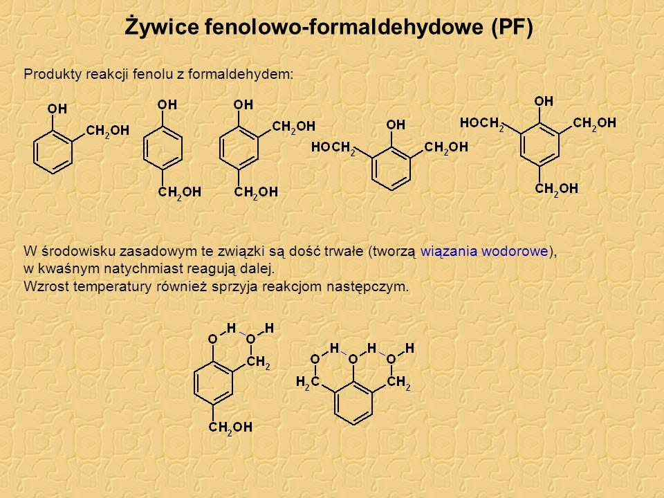 Żywice fenolowo-formaldehydowe (PF) Produkty reakcji fenolu z formaldehydem: W środowisku zasadowym te związki są dość trwałe (tworzą wiązania wodorow