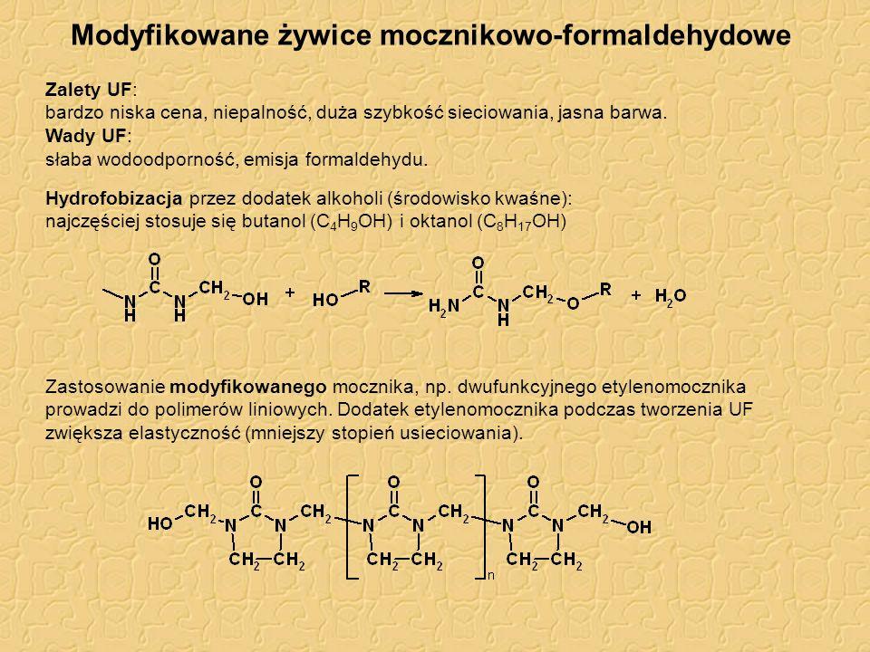 Modyfikowane żywice mocznikowo-formaldehydowe Zalety UF: bardzo niska cena, niepalność, duża szybkość sieciowania, jasna barwa. Wady UF: słaba wodoodp